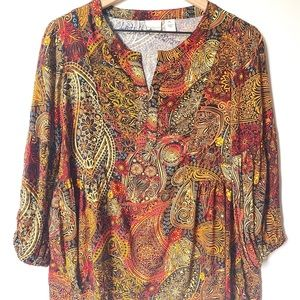 Westbound petites tribal print blouse, size PL